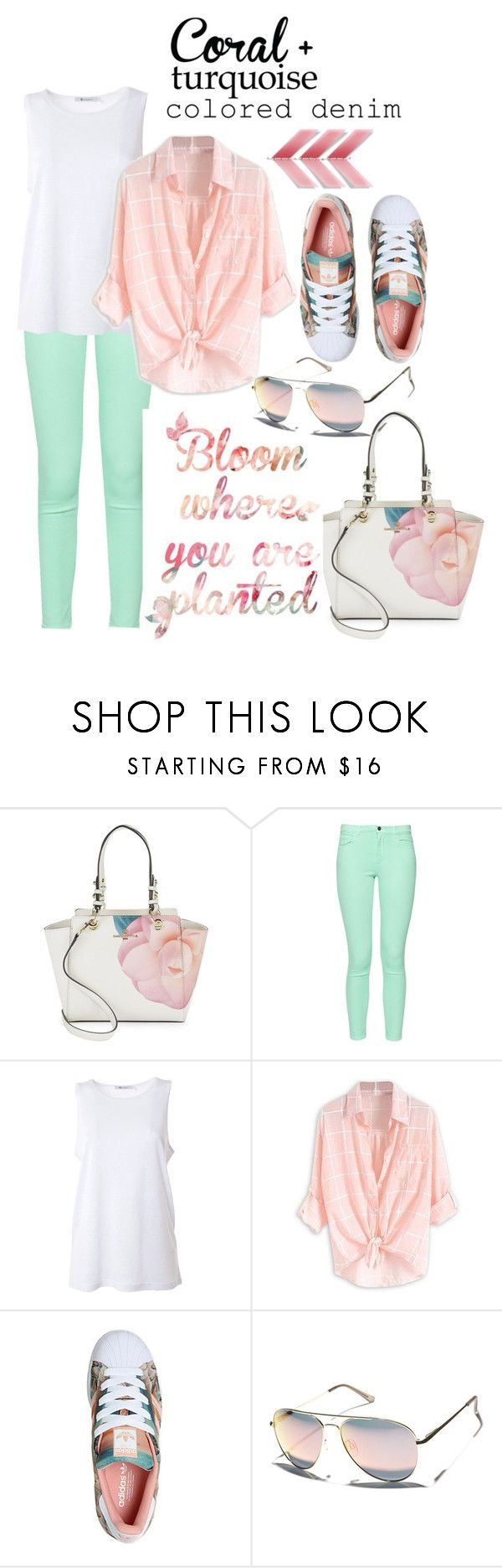 """""""Spring Trend: Colored Denim"""" by mia-christine ❤ liked on Polyvore featuring Karl Lagerfeld, French Connection, T By Alexander Wang, adidas, Le Specs, Spring, contestentry and coloredjeans"""