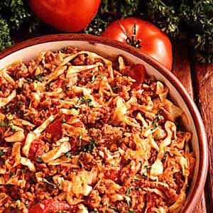 Cabbage Goulash...Cabbage is a very Southern dish. People who dont even like cabbage love this recipe. This goulash is good served with French bread or hard rolls, and I usually make a pot of pinto beans to go along with it.