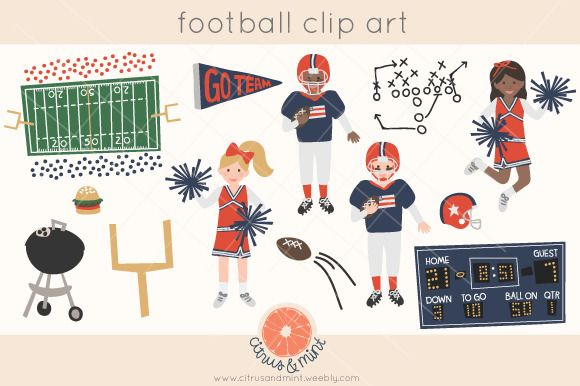football cheerleader clipart by Citrus and Mint on @creativemarket