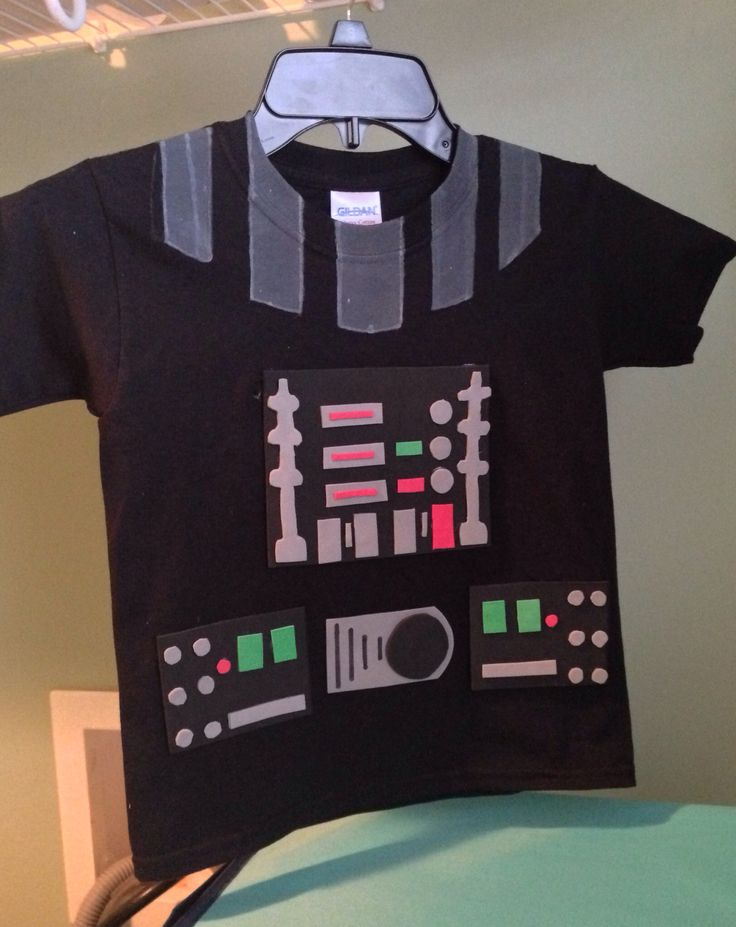 DIY Darth vader shirt- purchased a pack of colored foam from the craft store. Cut in the shapes to resemble the buttons and such. Used hot glue to attach pieces together. For the collar made a template with cardboard and used acrylic paint. Do not put in washer or dryer. Hand clean only