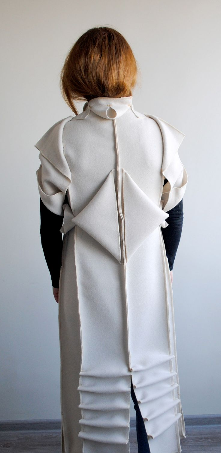 Innovative Pattern Cutting - zero waste coat; draping; sewing; fabric manipulation; origami fashion detail // Toma Tupikaite