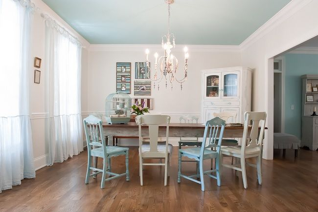 Light Blue Ceiling With White Walls And Light Blue And