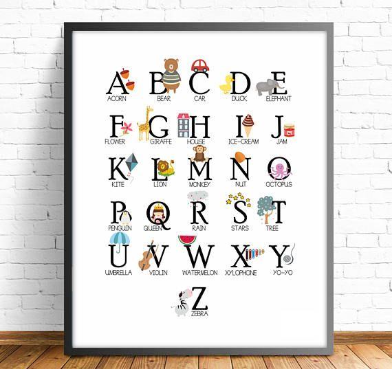 Abecedario ingles, abecedario infantil, abecedario animales, abecedario niños, alfabeto infantil ingles, incluye 4 tamaños