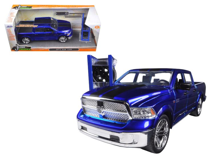 "2014 Dodge Ram 1500 Pickup Truck Blue ""Just Trucks"" with Extra Wheels 1/24 Diecast Model by Jada - Brand new 1:24 scale diecast model car of 2014 Dodge Ram 1500 Pickup Truck Blue ""Just Trucks"" with Extra Wheels die cast car model by Jada. Rubber tires. Brand new box. Detailed interior, exterior. Has opening doors, hood and rear gate. Made of diecast with some plastic parts. Dimensions approximately L-8.25, W-3.25, H-3.5 inches. Please note that manufacturer may change packing box at anytime…"
