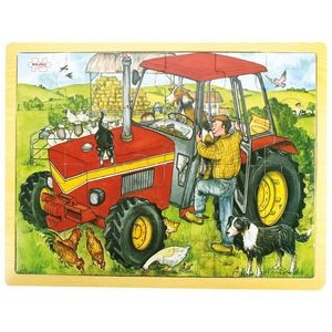 Early learners of 3 years+ will love this cheerful 24 piece jigsaw puzzle featuring a classic farm scene with a lovely red tractor! Take the pieces out and match them again with the image below - and there is plenty to look at and talk about! Comes in a handy tray, making it perfect for little laps and tables, and ideal for developing dexterity, coordination and imagination. Part of the Bigjigs® Toys range.