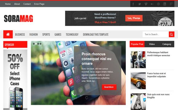 Sora Mag Blogger Template is fully Responsive and SEO Friendly.It has nice design and featured posts.