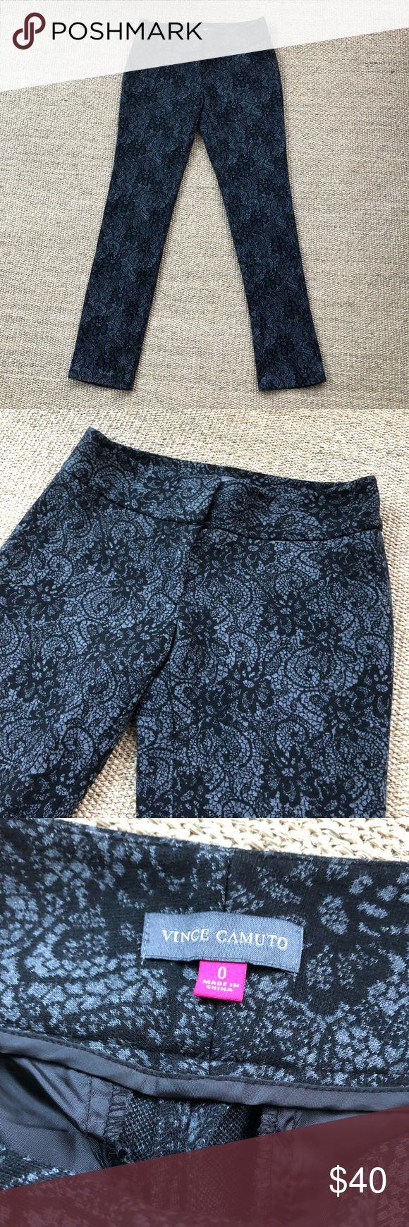 """Vince Camuto Gray Lace Pattern Slacks Pants 0 Gently worn condition. No known flaws. Waist is 14.5"""" across, length is 36.5"""", inseam is 29"""" and rise is 8"""". 🐾 Pet-friendly, smoke-free home. 🚫 No trades. No holds. 📦 Fast shipping! 🙋🏻 Considering all reasonable offers! Vince Camuto Pants Ankle & Cropped"""