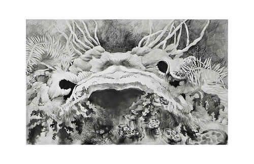 Pencil, graphite powder on paper. 2013