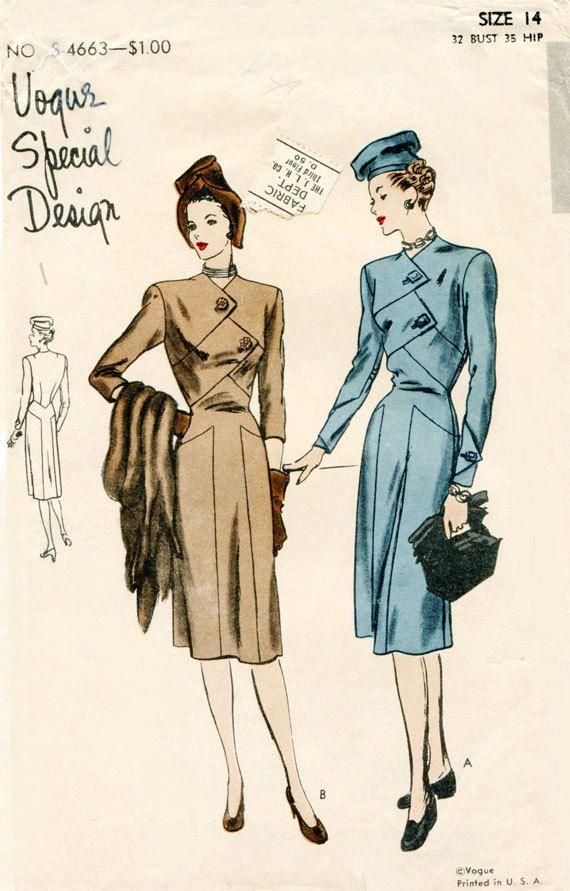 Vogue S4663 Vintage Special Design 1940s by FloradoraPresents, $70.00