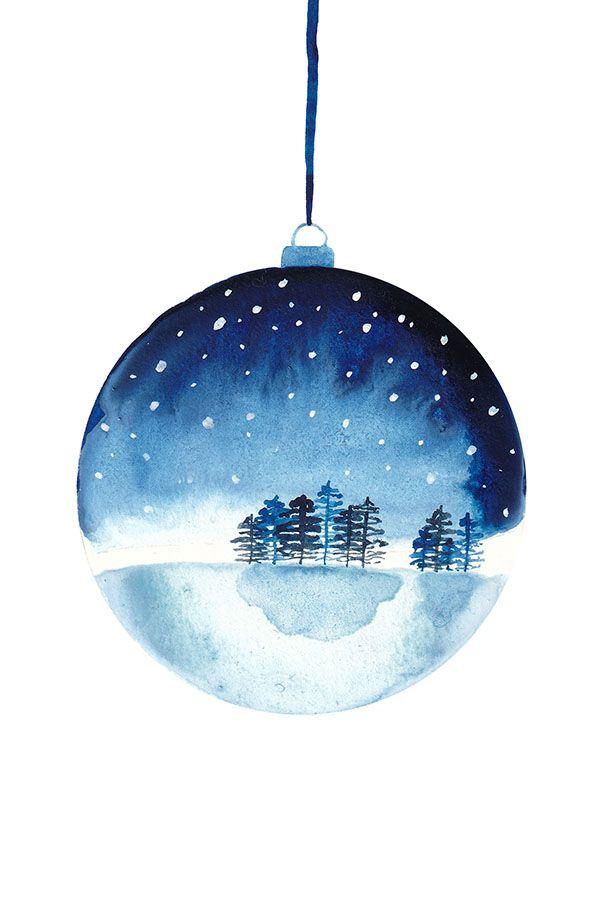 Aquarell Zeichnung einer Christbaumkugel mit Schneelandschaft – perfekt als Gesc…