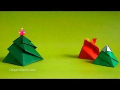 One Origami Box, Three Variations: Flower, Snow Mountain, Christmas Tree