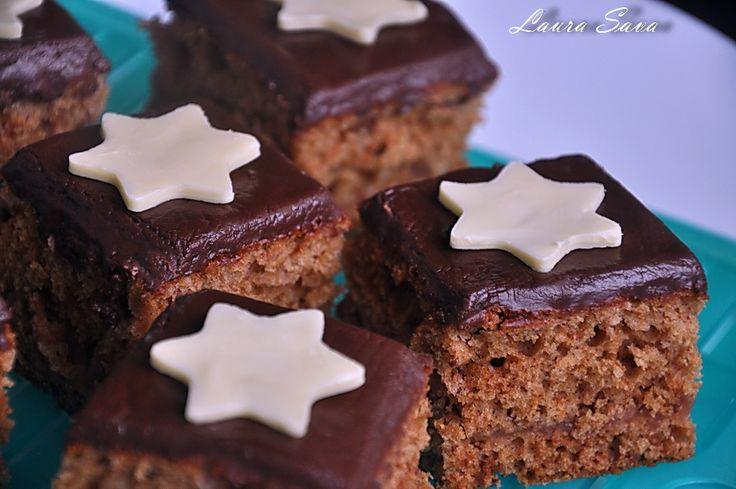 Turta dulce la tava, cu glazura de ciocolata