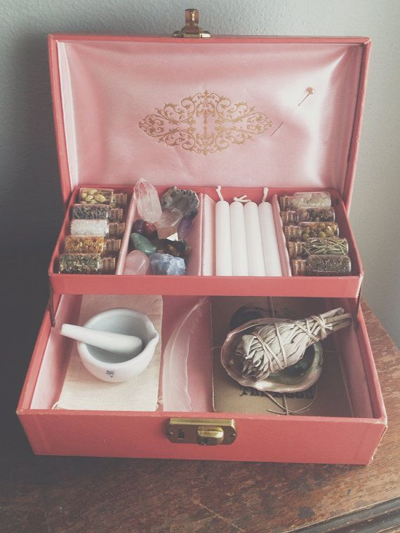 """The Witch's Charm Box by MoveWithTheMoon on Etsy, $92.00 pink vintage box, measures 10""""x7""""x3.5"""""""
