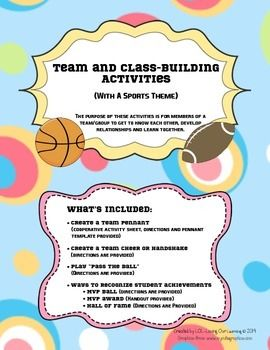 Team Building and Class Building Activities for Back to School (9 pages, $)