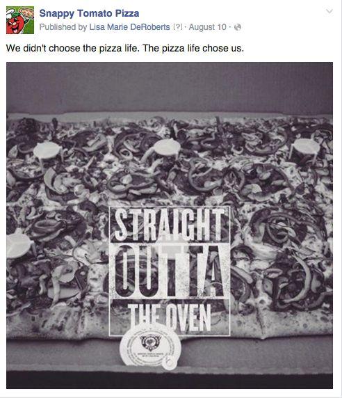 Copy and photo editing for Snappy Tomato Pizza via Dooley Media.