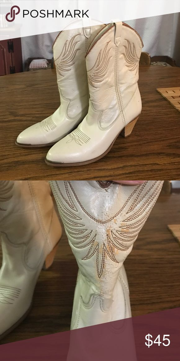 VINTAGE Cowboy Boots Vintage leather cowboy boots. Cream color with some wear as shown in photo. Dingo Shoes Ankle Boots & Booties