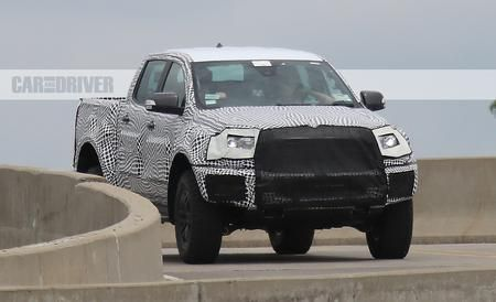 What It Is: A new-generation Ford Ranger pickup wearing what appear to be wide fenders, beefy off-road tires, and lots of camouflage. The style of those wheels, and the seemingly shaved front bumper that raise this Ranger's chin higher over potential obstacles, should look familiar to anyone who has seen the latest F-150 Raptor. We believe this Ranger prototype is a test mule for suspension pieces and body addenda that could make their way into a Raptor-emulating, off-road-focused Ranger…