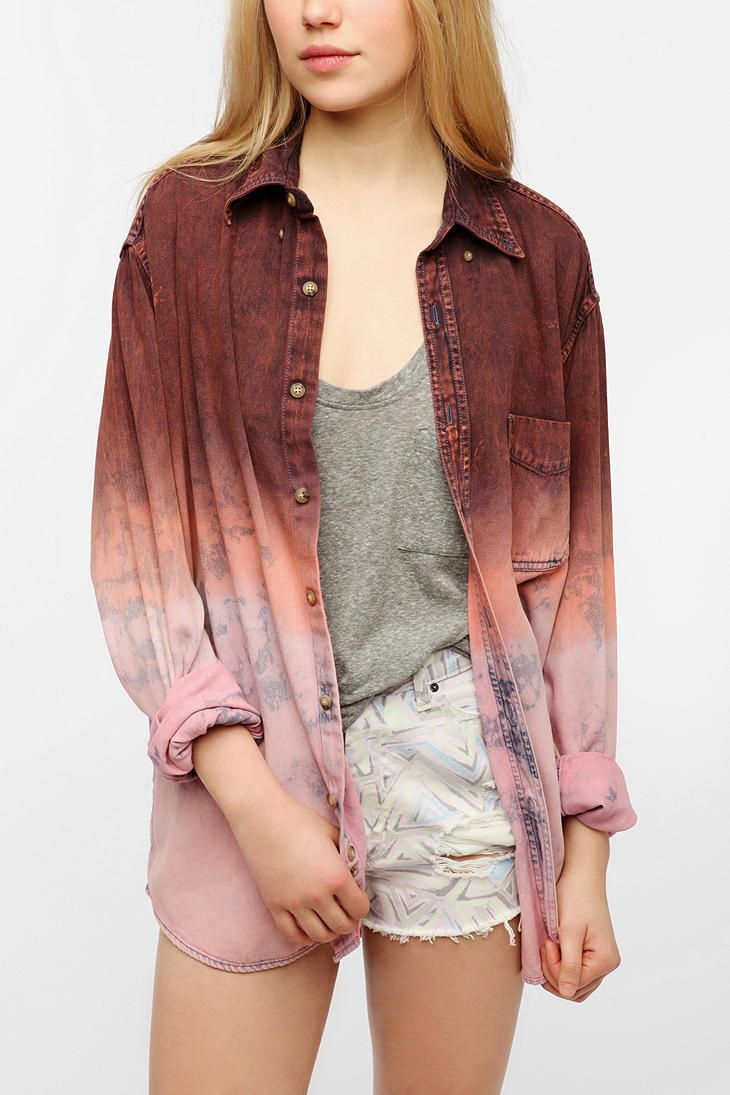 Urban Renewal Dip-Dyed Denim Shirt   this too.. don't waste money buying this doe. I can make it for you.