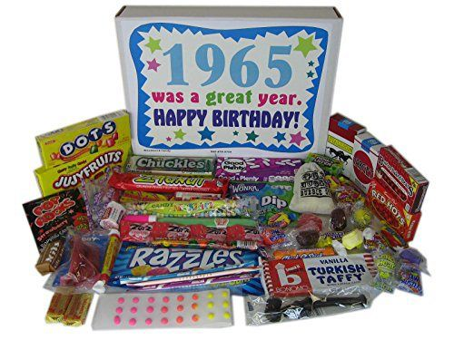 1965 50th Birthday Gift Basket Box Retro Nostalgic Candy From Childhood - http://mygourmetgifts.com/1965-50th-birthday-gift-basket-box-retro-nostalgic-candy-from-childhood/