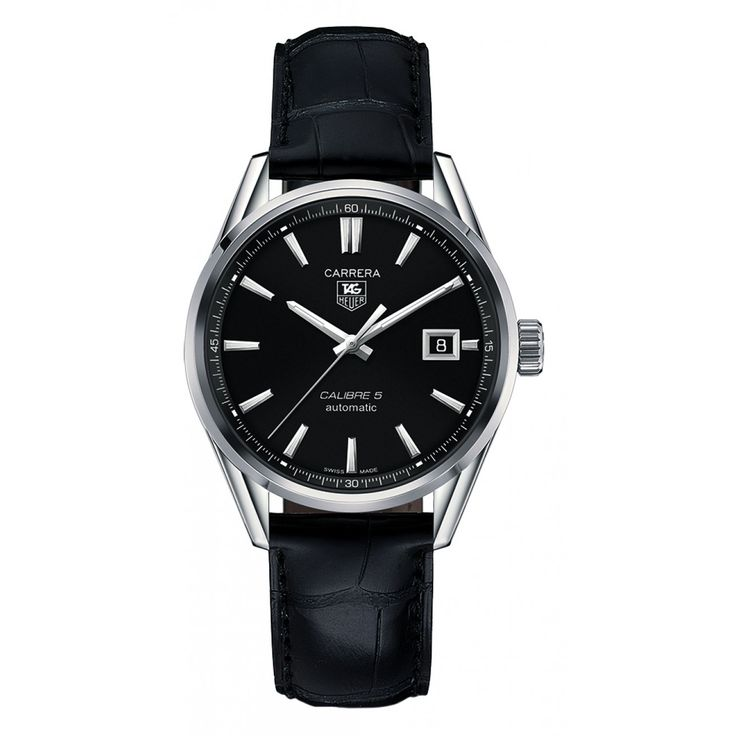 TAG Heuer Carrera Automatic men's black leather strap watch