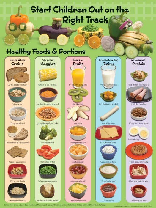 Healthy Choices for Children-- includes serving sizes appropriate for kids