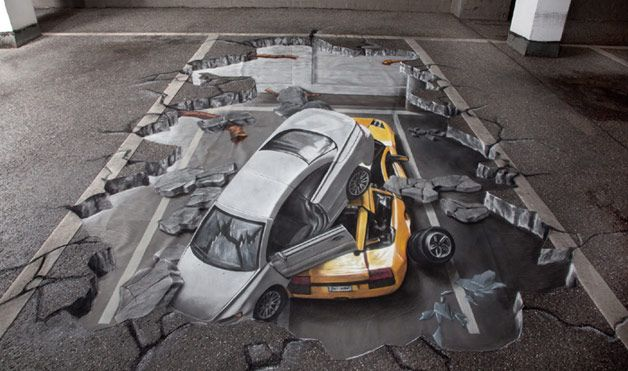 3D street art of car-crash incident - this looks so realistic its almost frigthening :S