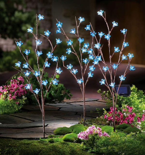 S 3 Solar Power Led Blue Flower Branch Garden Stakes