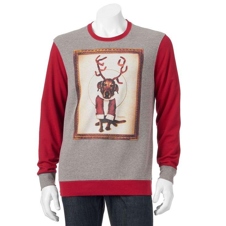 Men's Reindeer Dog Christmas Sweatshirt, Size: Medium, Grey Other