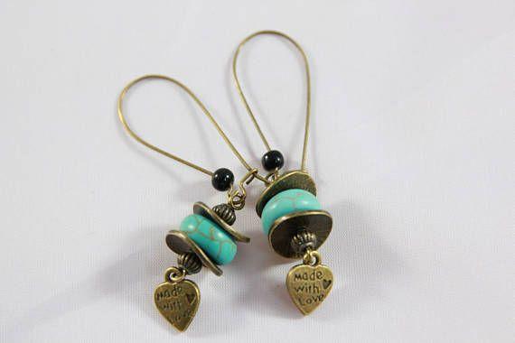 boucles d'oreilles dormeuse grosse perle turquoise et