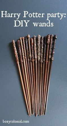 Chop sticks (more inexpensive) or knitting needless for DIY Harry Potter wands.                                                                                                                                                                                 More