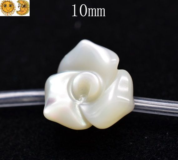12 pcs of MOP Carved Flower shell bead 10mm by DIYbeads888 on Etsy, $8.60