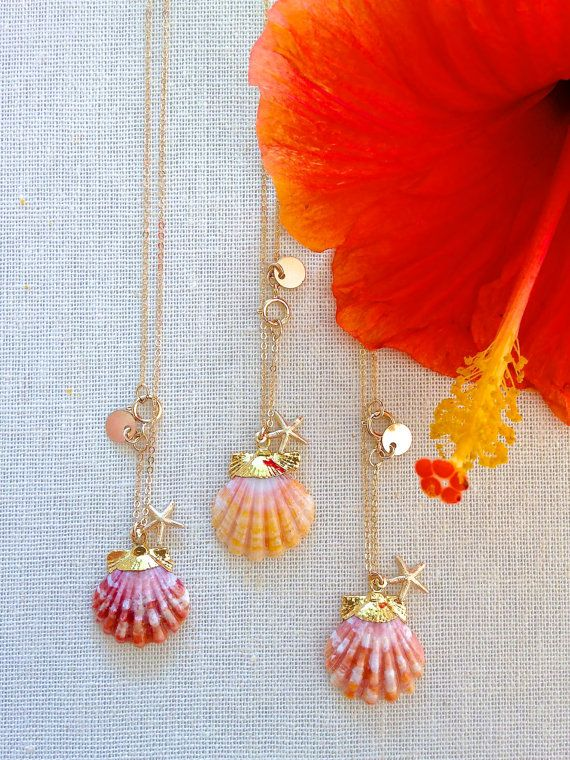 ANIKA NECKLACE: gold dipped sunrise shell necklace, hawaiian sunrise shell, sunrise shell jewelry, delicate layers, maui jewelry, beach chic