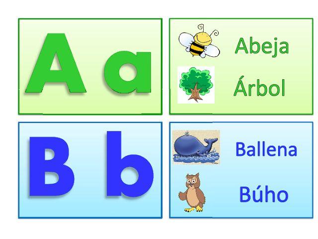 ABECEDARIO IMPRENTA. Letras A y a mayúscula y minúscula. Letra B i b mayúscula y minúscula: Abeja, Árbol, Ballena, Búho.