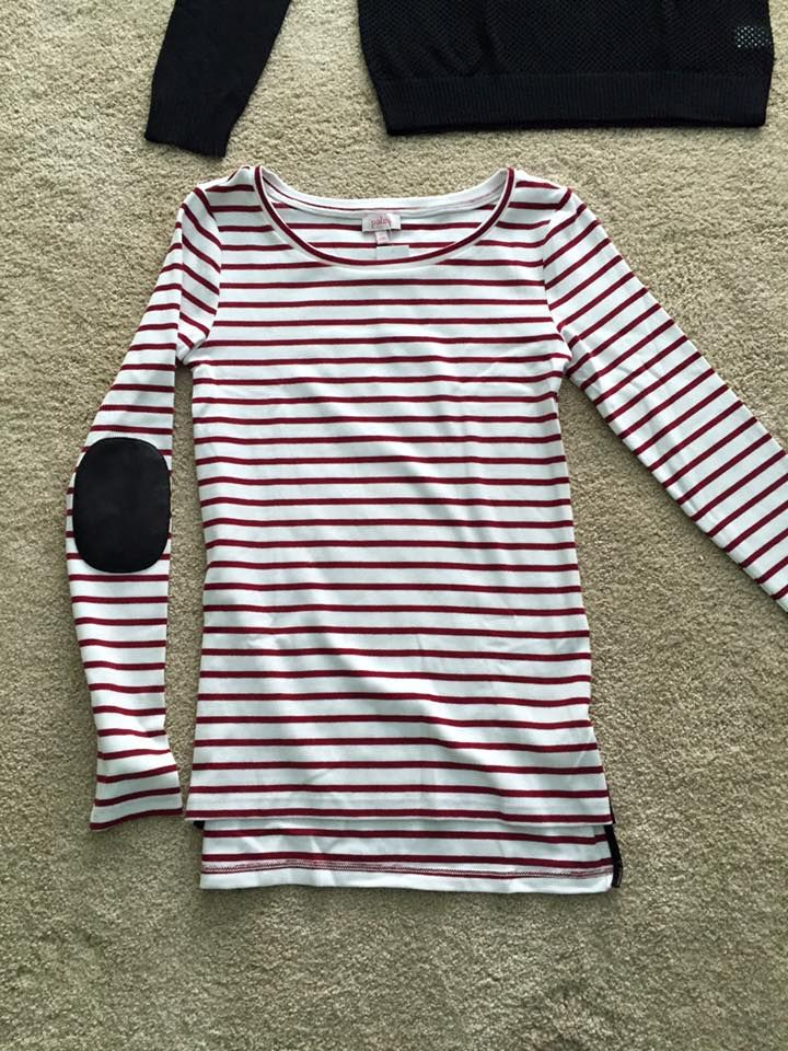 Pixley Greenich Striped Knit Top Love the elbow patches and stripes! Try: https://www.stitchfix.com/referral/4932098 for your own personal stylist.