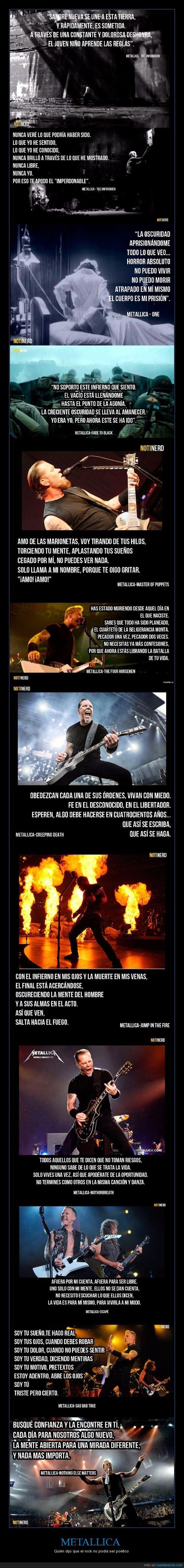 12 grandes frases de Metallica que demuestran que el rock puede ser poético
