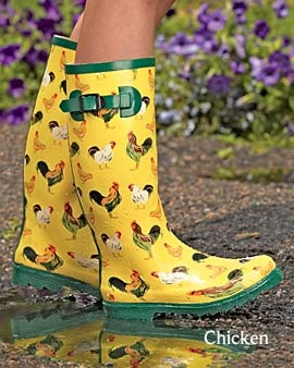 Gardener's wellies...with chickens! Other cute designs available.