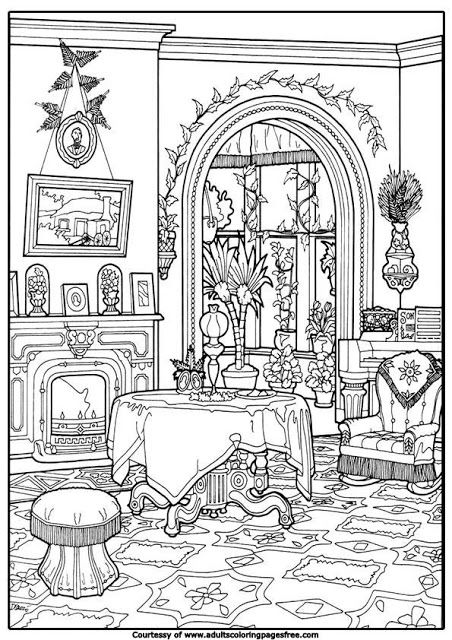 house interior adults architectures coloring pages
