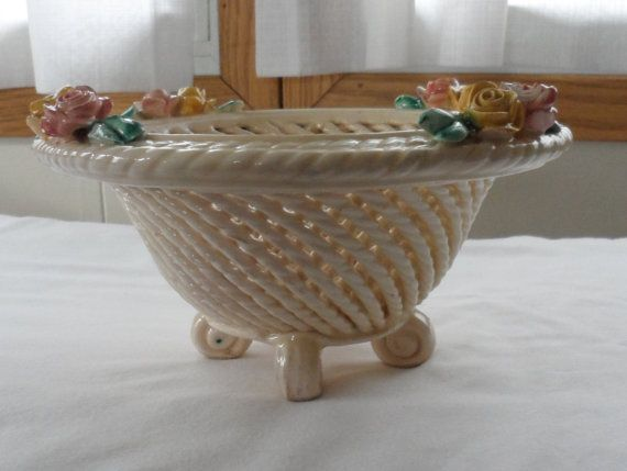 Vintage CAPODIMONTE Woven Rope Footed Table Bowl / by BYGONERA