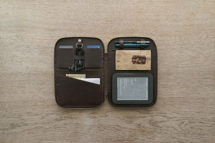 Leatherwork. A hand-stitched on-the-go leather case for a notebook, e-book reader, documents, plastic and business cards, pens and all sorts of things.