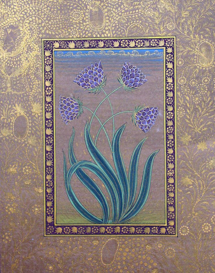 Flower Mughal Paper Miniature Painting Handmade Floral Moghul Art.