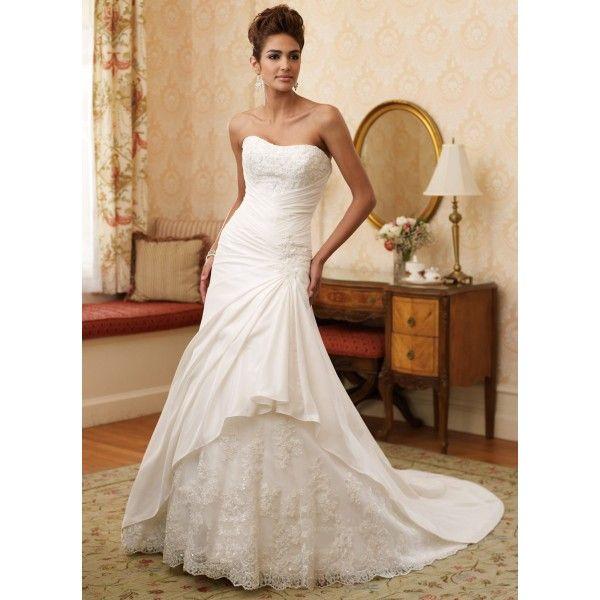 Mermaid  Strapless Taffeta Lace Wedding Dress