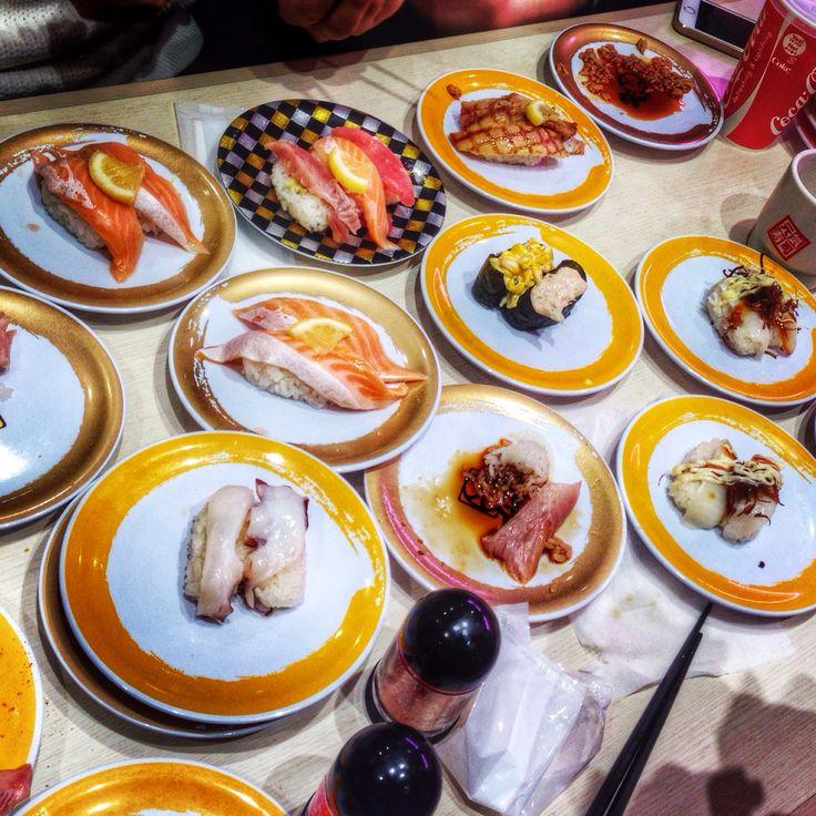 Sushi feast at Genki Restaurant in Tokyo, Japan, in Shibuya