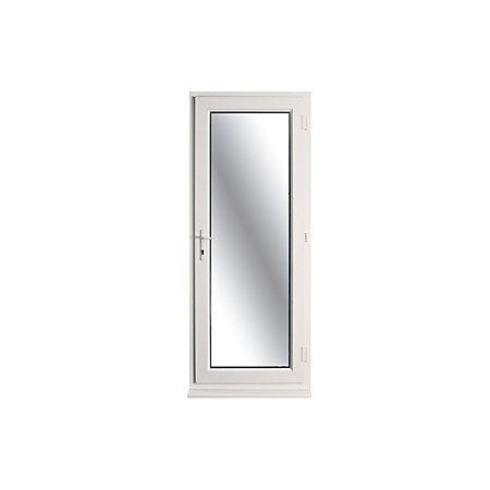 White pvcu fully glazed back door frame rh h 2055mm w for Back door and frame set