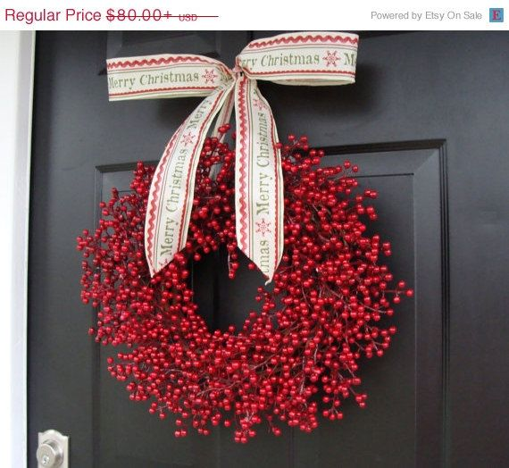 Red Berry Wreath, Christmas Decor, Christmas Wreath, Berry Wreaths, Cranberry Wedding Decor, Winter Wreath $72.00