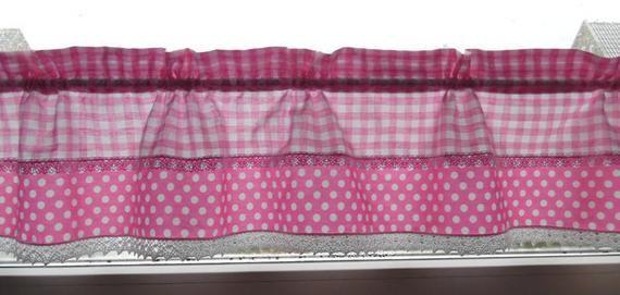 Scheibengardine Rosa Dots Karo Etsy Valance Curtains Home Decor Tunnel Cover