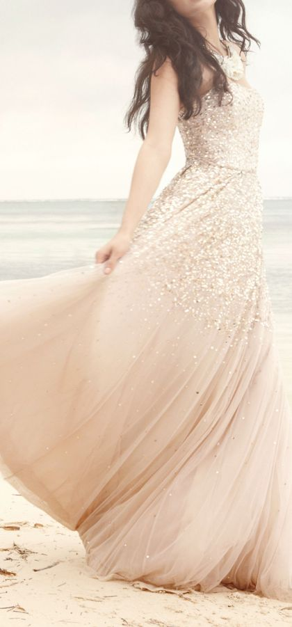 Dreamy blush gown, the ultimate wedding gown , so lovely for a beach wedding. Walking on  sunshine:-)