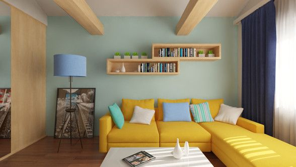 Livingroom design and 3d rendering created by Puncto.ro