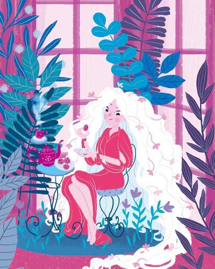 Teatime . #witch #digitalart #draw #teapot #whitehair #flowers #plant #moreillustration #illust #artguide_illustration #illustration_best #illustgram #illustraties #fairyandfolks #instaillustrate #children_illustrations #childrenswritersguild #fragarixie
