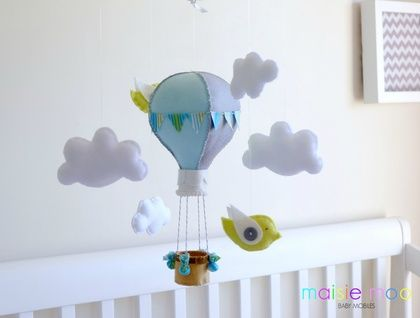 Up, Up, Up and Away - Hot Air Balloon Baby Mobile with Birdy Friends