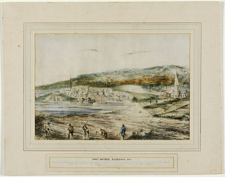 Port Arthur, Tasmania, 1843. Unknown artist. Lithographic print, hand coloured with wash. From the collections of the State Library of New South Wales: http://acmssearch.sl.nsw.gov.au/search/itemDetailPaged.cgi?itemID=826089